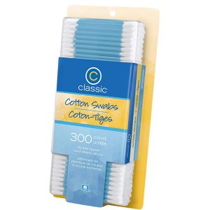Classic Cotton Swabs Plastic Stick 300 count