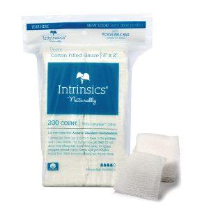 Intrinsics Petite Cotton-Filled Gauze 2″x2″, Medical grade 100% pure cotton 200 per bag