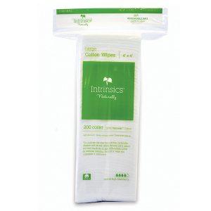 Intrinsics Large Cotton Wipes 4″ x 4″, 8-ply 100% pure cotton, 200 per bag
