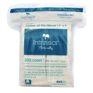 Intrinsics Petite Cotton 12-Ply Gauze 2″ x 2″, Medical grade 100% pure cotton 200 per bag
