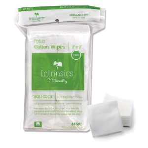 "Intrinsics Petite Cotton Wipes 2"" x 2"", 4-ply 100% pure cotton, 200 per bag"