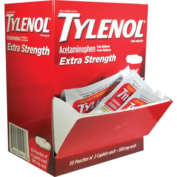 Tylenol Extra Strength Caplets 50 packs of 2 per box